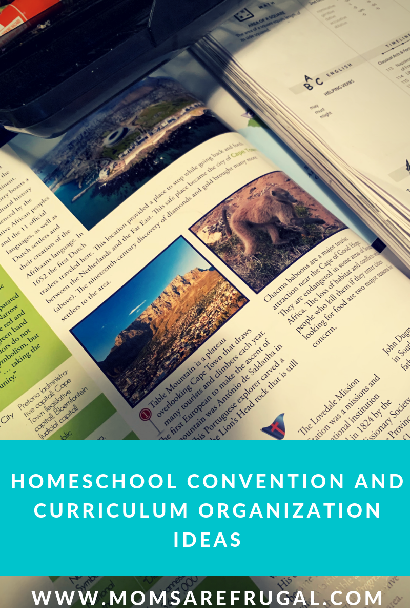 Homeschool Convention  and Curriculum Organization Ideas